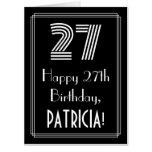 "[ Thumbnail: 27th Birthday — Art Deco Inspired Look ""27"" + Name Card ]"
