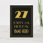 "[ Thumbnail: 27th Birthday – Art Deco Inspired Look ""27"" & Name Card ]"