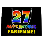[ Thumbnail: 27th Birthday: Bold, Fun, Simple, Rainbow 27 Gift Bag ]