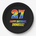 [ Thumbnail: 27th Birthday: Bold, Fun, Simple, Rainbow 27 Paper Plate ]