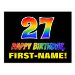 [ Thumbnail: 27th Birthday: Bold, Fun, Simple, Rainbow 27 Postcard ]