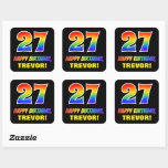 [ Thumbnail: 27th Birthday: Bold, Fun, Simple, Rainbow 27 Sticker ]