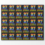 [ Thumbnail: 27th Birthday: Bold, Fun, Simple, Rainbow 27 Wrapping Paper ]