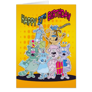 27th Birthday Card - Moonies Doodlematoons