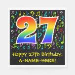 [ Thumbnail: 27th Birthday - Colorful Music Symbols, Rainbow 27 Napkins ]