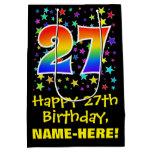[ Thumbnail: 27th Birthday: Colorful Stars Pattern & Rainbow 27 Gift Bag ]