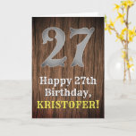 [ Thumbnail: 27th Birthday: Country Western Inspired Look, Name Card ]