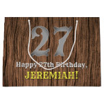 [ Thumbnail: 27th Birthday: Country Western Inspired Look, Name Gift Bag ]