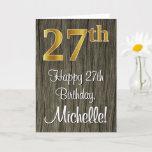 [ Thumbnail: 27th Birthday: Elegant Faux Gold Look #, Faux Wood Card ]