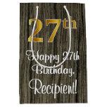 [ Thumbnail: 27th Birthday: Elegant Faux Gold Look #, Faux Wood Gift Bag ]
