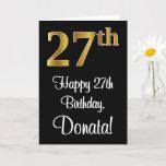 [ Thumbnail: 27th Birthday ~ Elegant Luxurious Faux Gold Look # Card ]