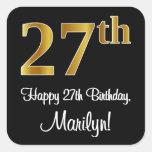 [ Thumbnail: 27th Birthday – Elegant Luxurious Faux Gold Look # Sticker ]