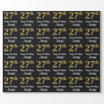 [ Thumbnail: 27th Birthday: Elegant Luxurious Faux Gold Look # Wrapping Paper ]