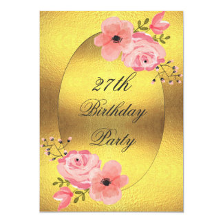 27th Birthday Faux Gold Foil Watercolor Flowers 5x7 Paper Invitation Card