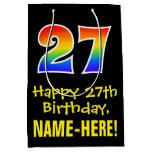 "[ Thumbnail: 27th Birthday: Fun, Bold, Colorful, Rainbow ""27"" Gift Bag ]"