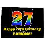 [ Thumbnail: 27th Birthday ~ Fun, Colorful, Vibrant, Rainbow 27 Gift Bag ]