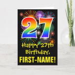[ Thumbnail: 27th Birthday: Fun Fireworks Pattern + Rainbow 27 Card ]