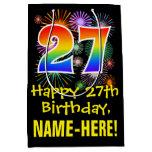 [ Thumbnail: 27th Birthday: Fun Fireworks Pattern + Rainbow 27 Gift Bag ]