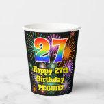 [ Thumbnail: 27th Birthday: Fun Fireworks Pattern + Rainbow 27 ]