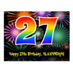 [ Thumbnail: 27th Birthday – Fun Fireworks Pattern + Rainbow 27 Postcard ]