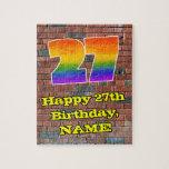 [ Thumbnail: 27th Birthday: Fun Graffiti-Inspired Rainbow 27 Jigsaw Puzzle ]