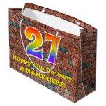 [ Thumbnail: 27th Birthday: Fun, Graffiti-Inspired Rainbow # 27 Gift Bag ]