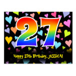 [ Thumbnail: 27th Birthday: Fun Hearts Pattern, Rainbow 27 Postcard ]