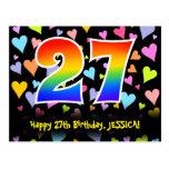 [ Thumbnail: 27th Birthday: Fun Hearts Pattern, Rainbow 27 Postcard ]