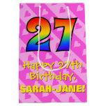 [ Thumbnail: 27th Birthday: Fun Pink Hearts Stripes; Rainbow 27 Gift Bag ]