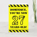 [ Thumbnail: 27th Birthday: Fun Stencil Style Text, Custom Name Card ]