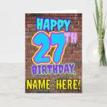 [ Thumbnail: 27th Birthday - Fun, Urban Graffiti Inspired Look Card ]