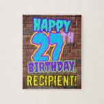 [ Thumbnail: 27th Birthday ~ Fun, Urban Graffiti Inspired Look Jigsaw Puzzle ]