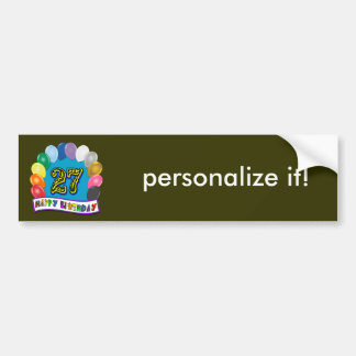 27th Birthday Gifts with Assorted Balloons Design Bumper Sticker
