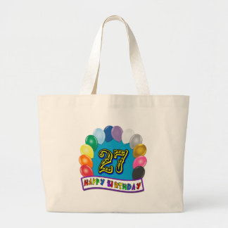 27th Birthday Gifts with Assorted Balloons Design Large Tote Bag