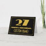 "[ Thumbnail: 27th Birthday: Name + Art Deco Inspired Look ""27"" Card ]"