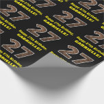 """[ Thumbnail: 27th Birthday: Name & Faux Wood Grain Pattern """"27"""" Wrapping Paper ]"""