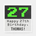 """[ Thumbnail: 27th Birthday - Nerdy / Geeky Style """"27"""" & Name Napkins ]"""