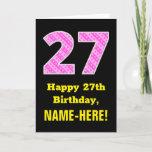 "[ Thumbnail: 27th Birthday: Pink Stripes and Hearts ""27"" + Name Card ]"