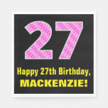 "[ Thumbnail: 27th Birthday: Pink Stripes and Hearts ""27"" + Name Napkins ]"
