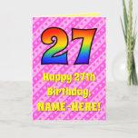 [ Thumbnail: 27th Birthday: Pink Stripes & Hearts, Rainbow # 27 ]