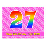 [ Thumbnail: 27th Birthday: Pink Stripes & Hearts, Rainbow 27 Postcard ]