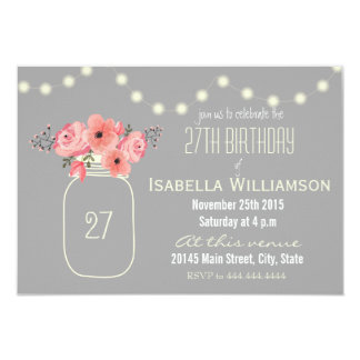 27th Birthday Pink Watercolor Flowers & Mason Jar 3.5x5 Paper Invitation Card