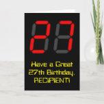 "[ Thumbnail: 27th Birthday: Red Digital Clock Style ""27"" + Name Card ]"