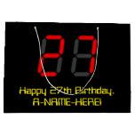 "[ Thumbnail: 27th Birthday: Red Digital Clock Style ""27"" + Name Gift Bag ]"