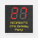 "[ Thumbnail: 27th Birthday: Red Digital Clock Style ""27"" + Name Napkins ]"