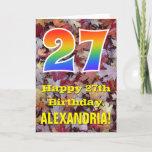 "[ Thumbnail: 27th Birthday; Rustic Autumn Leaves; Rainbow ""27"" Card ]"