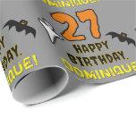 [ Thumbnail: 27th Birthday: Spooky Halloween Theme, Custom Name Wrapping Paper ]