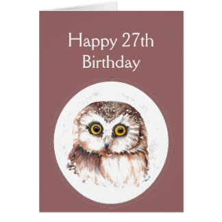 27th Birthday Who Loves You, Cute Owl Humour Greeting Card