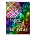 27th birthday with disco ball and rainbow of stars greeting card