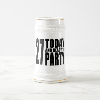 27th Birthdays Parties : 27 Today & Ready to Party 18 Oz Beer Stein